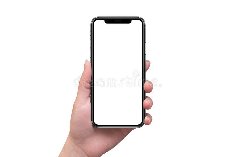 El teléfono elegante moderno con x curvó la pantalla en la mano de la mujer aislada fotografía de archivo