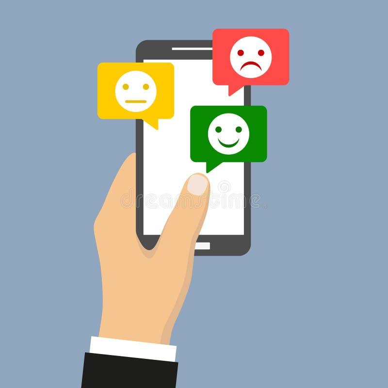 El teléfono en la mano sonríe las emociones ilustración del vector