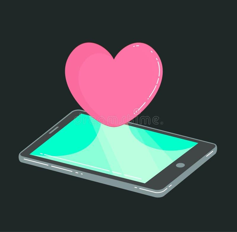 El teléfono móvil con el corazón le gusta el icono en oscuridad libre illustration