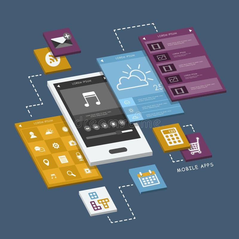El teléfono móvil con el interfaz defiende infographic stock de ilustración