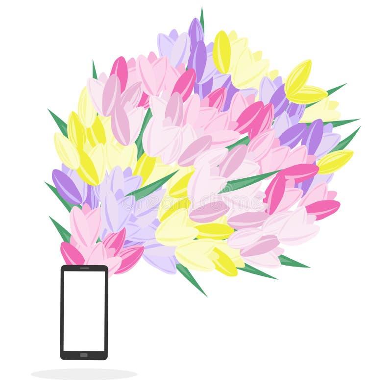 El teléfono móvil con las flores que volaban de él aisló en el backg blanco libre illustration