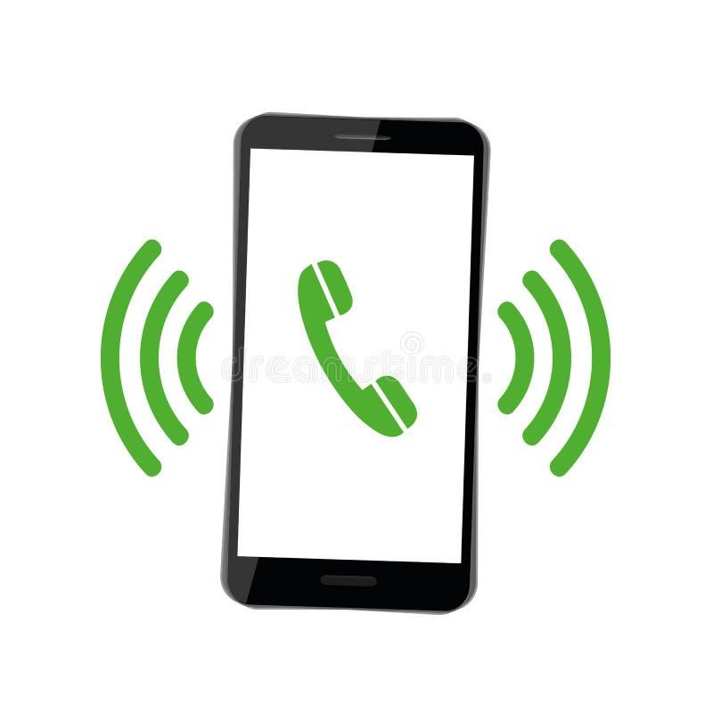 El teléfono móvil del smartphone negro suena el receptor de teléfono verde stock de ilustración