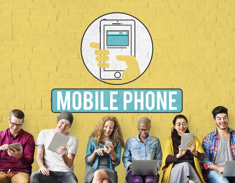 El teléfono móvil del teléfono móvil celular comunica concepto fotografía de archivo