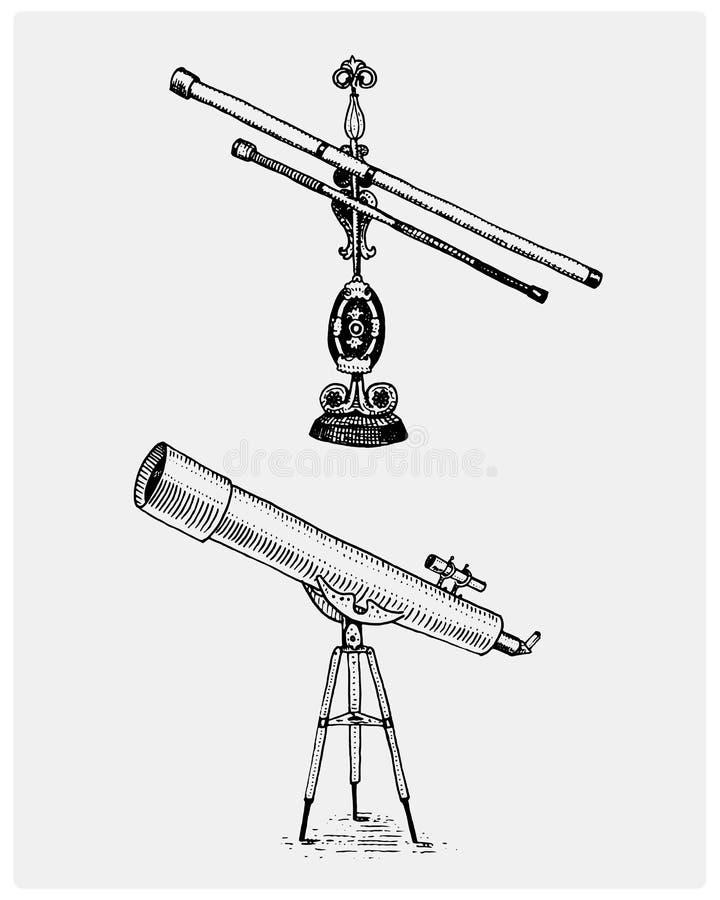 El telescopio astronómico, vintage, grabó la mano dibujada en bosquejo o la madera cortó el estilo, el viejo parecer retra stock de ilustración