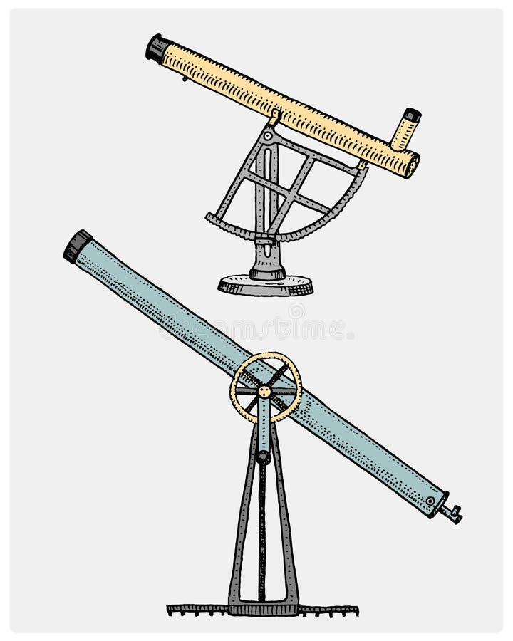 El telescopio astronómico, vintage, grabó la mano dibujada en bosquejo o la madera cortó el estilo, el viejo parecer retra ilustración del vector