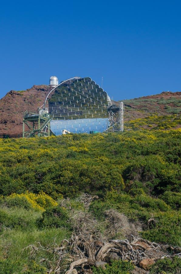 El telescopio MÁGICO en Roque de los Muchachos Observatory, PA del La fotografía de archivo