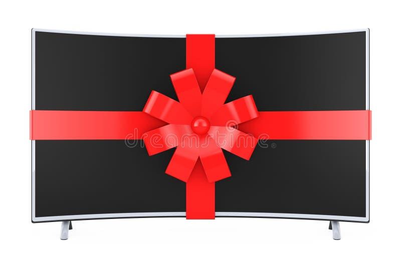 El televisor de plasma LCD o el monitor elegante curvado envolvió con la cinta roja ilustración del vector