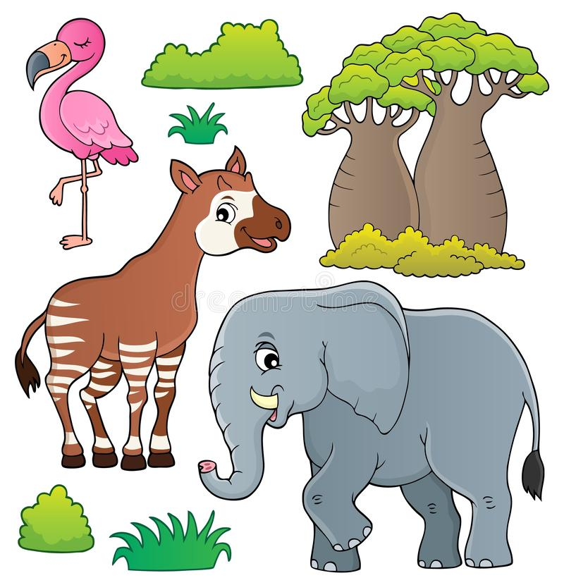 El tema africano de la naturaleza fijó 4 libre illustration