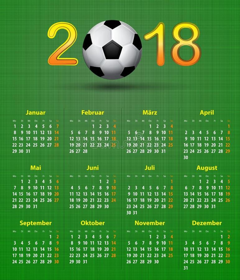 El tema 2018, balón del fútbol del calendario de Deutsch de fútbol trasero del lino calen stock de ilustración