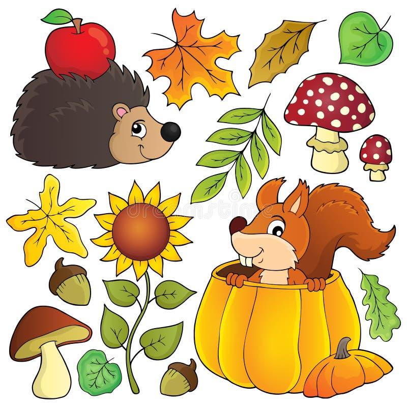 El tema de la naturaleza del otoño fijó 1 ilustración del vector