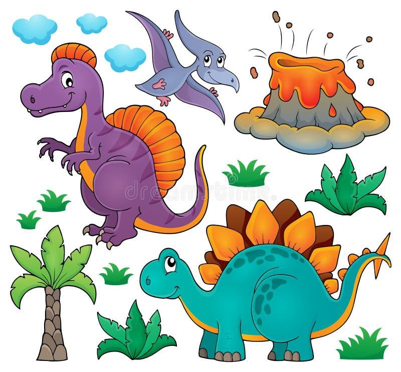 El tema del dinosaurio fijó 2 stock de ilustración