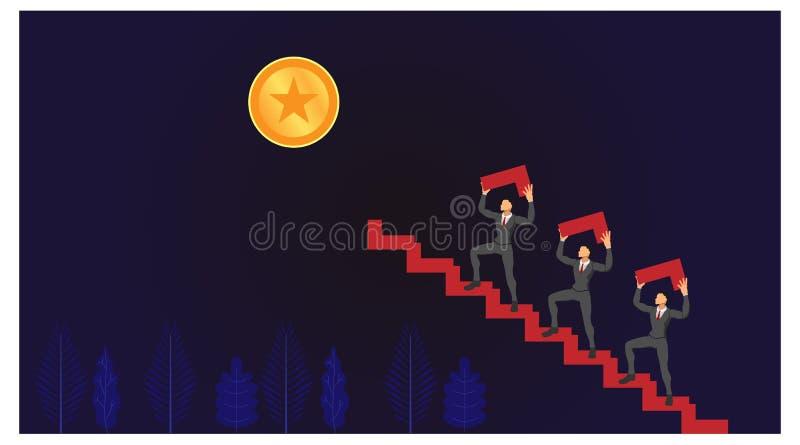 El tema del trabajo en equipo sube la escalera hacia objetivos exitosos. archivos de ilustraciones vectoriales de plantillas de ca stock de ilustración