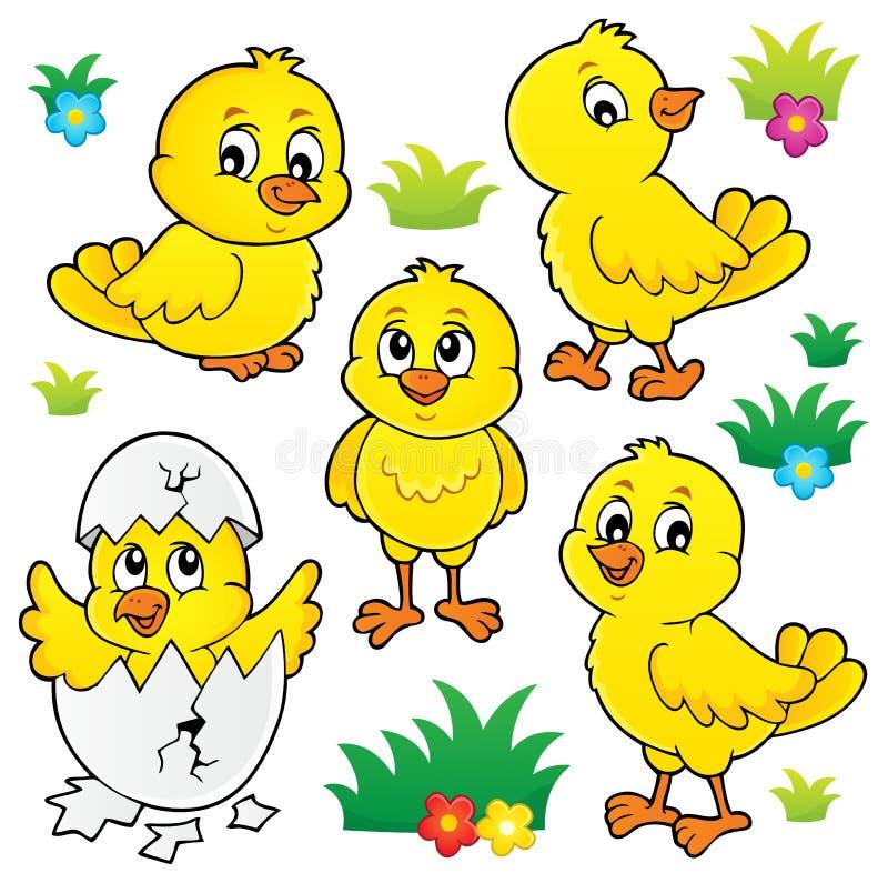 El tema lindo de los pollos fijó 1 stock de ilustración