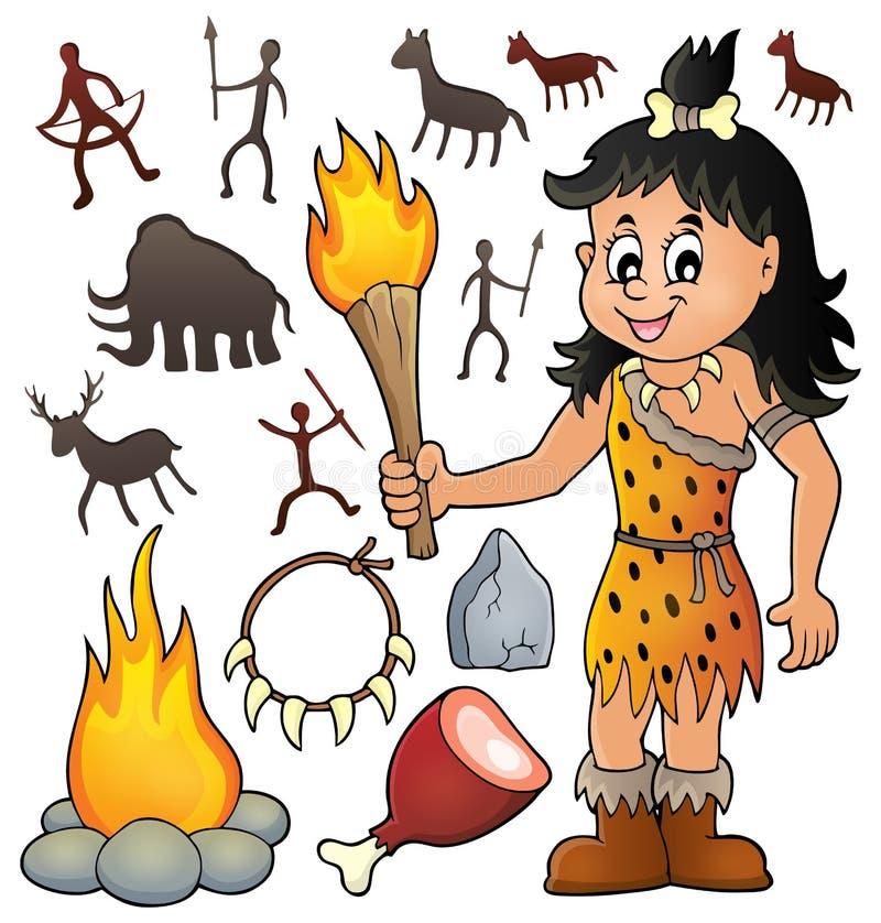 El tema prehistórico fijó 3 stock de ilustración
