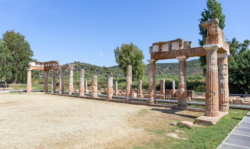 El Templo de Artemisa en Brauron en la Atica, Grecia fotos de archivo libres de regalías