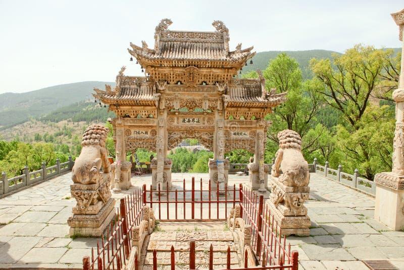 El templo de la montaña del wutai en China imagen de archivo