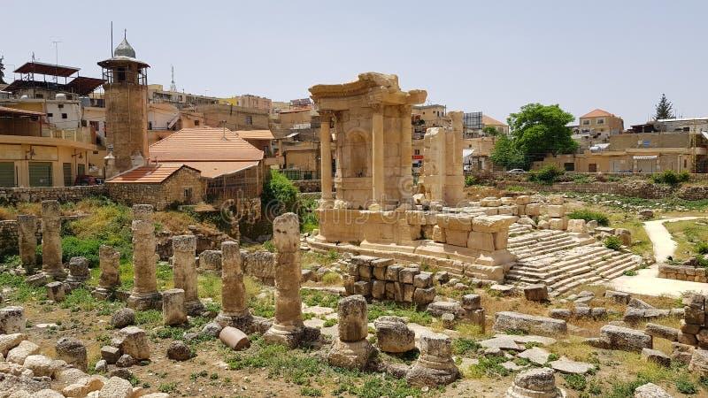 El templo de Venus Las ruinas de la ciudad romana de Heliópolis o de Baalbek en el Beqaa Valley Baalbek, L?bano foto de archivo