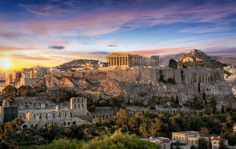 El templo del Parthenon en la acrópolis de Atenas, Grecia imágenes de archivo libres de regalías