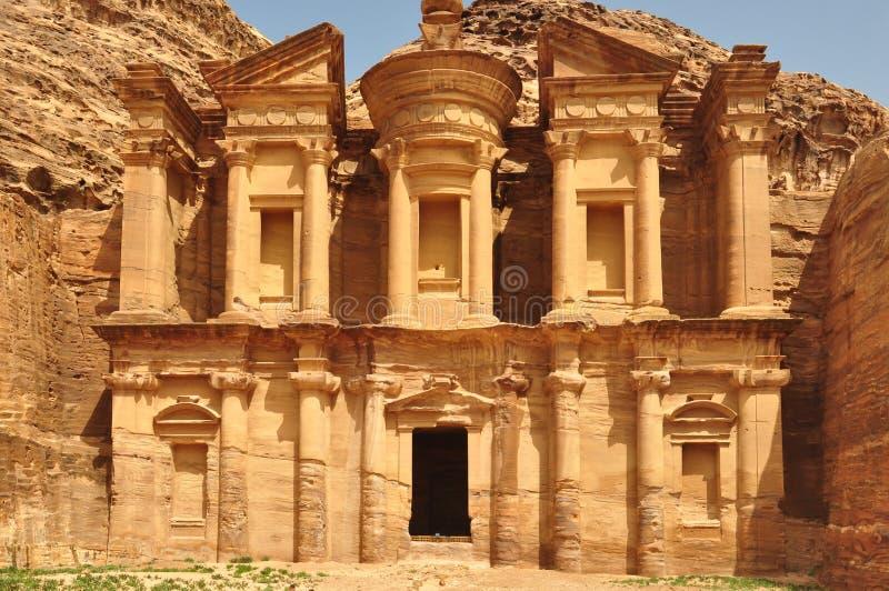 El templo en el Petra, Jordania del Hacienda fotografía de archivo