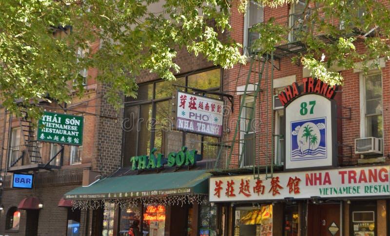 El tender vietnamita de Chinatown NYC de la comida del restaurante de New York City come fotografía de archivo libre de regalías