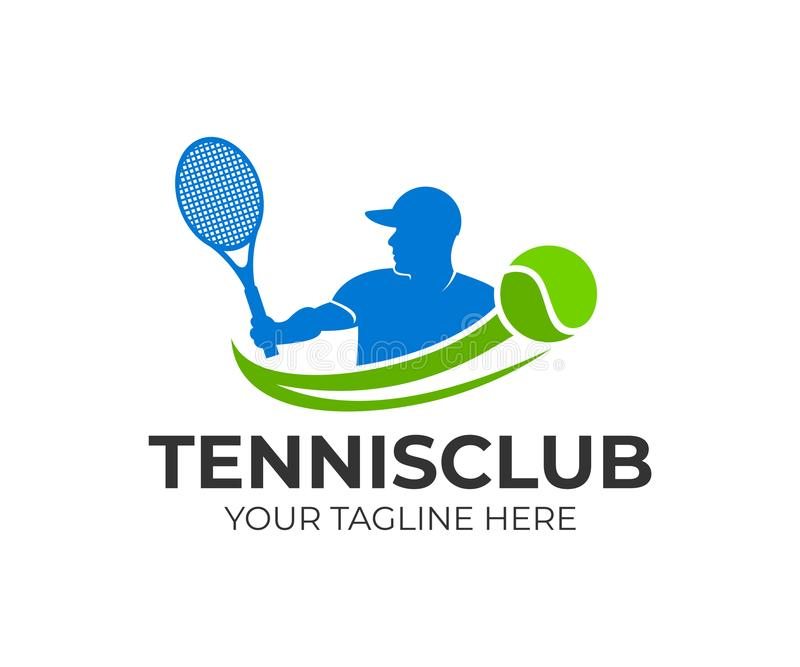 El tenis y el jugador de tenis golpea la bola con una estafa de tenis, plantilla del logotipo Torneo activo del deporte y de teni ilustración del vector