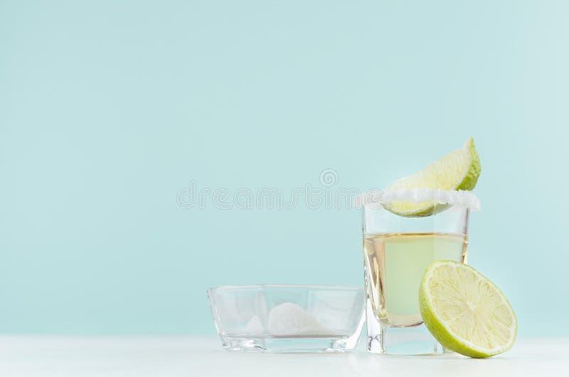 El tequila fresco del cóctel del alcohol del verano con el borde salado, corta la cal en vasos de medida en el fondo azul en colo foto de archivo