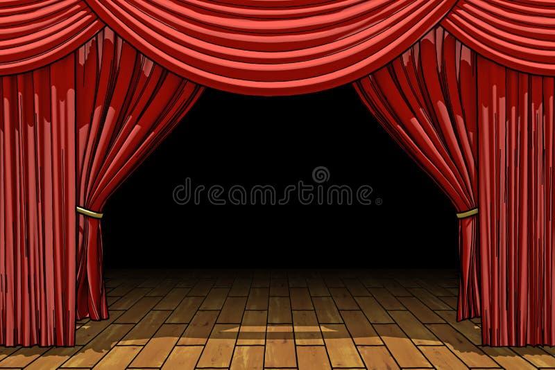 El terciopelo rojo del teatro de la etapa cubre ilustración del vector