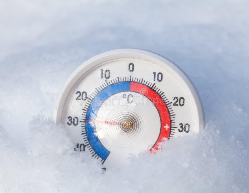 El termómetro congelado muestra menos 29 wi extremos del frío del grado cent3igrado imagen de archivo