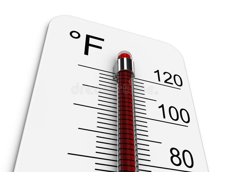 El termómetro indica temperatura alta extrema stock de ilustración
