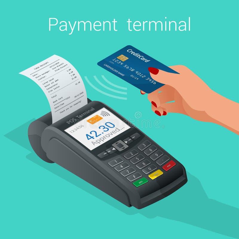 El terminal isométrico de la posición confirma el pago por la tarjeta del debe-haber ilustración del vector