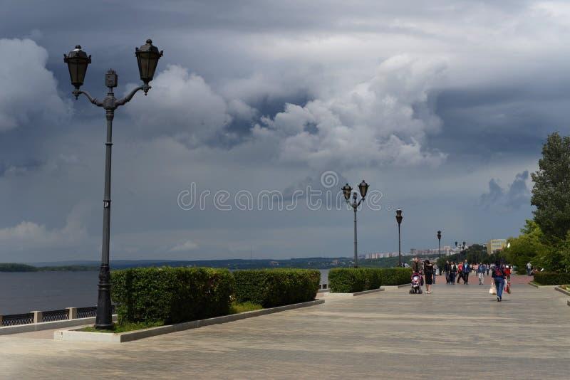 El terraplén de la ciudad del Samara ruso, en donde el mundial será sostenido foto de archivo libre de regalías