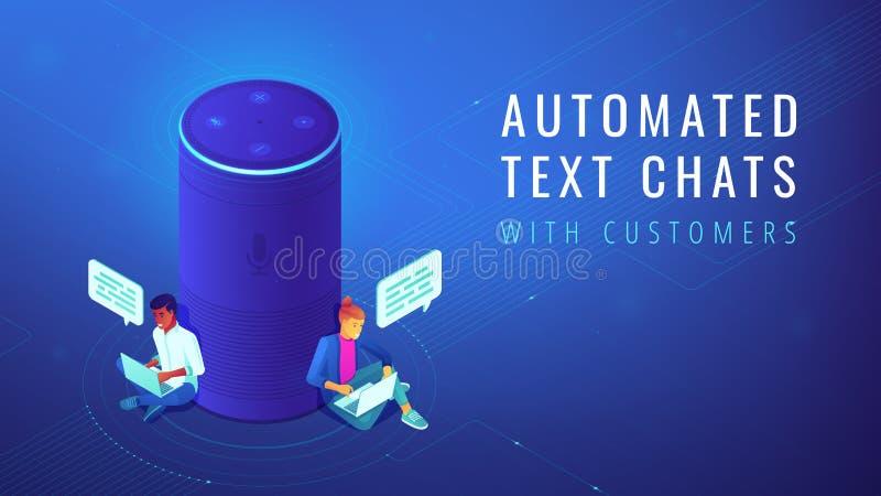 El texto automatizado ayudante isométrico de la voz charla el ejemplo libre illustration