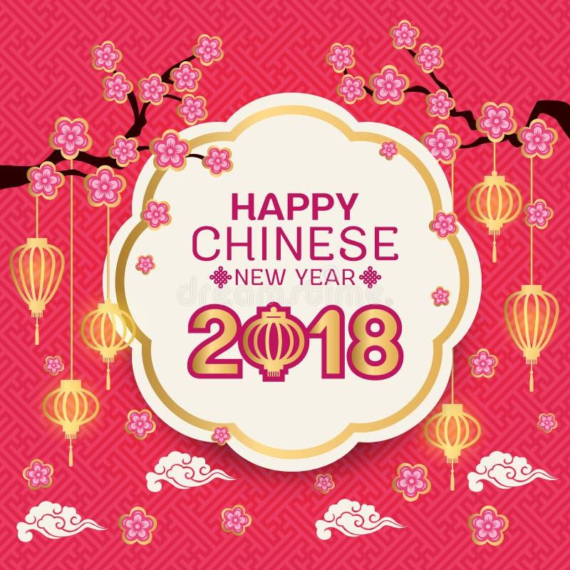 El texto chino feliz del Año Nuevo 2018 en la bandera blanca del círculo de la frontera del oro y las flores rosadas ramifican, l libre illustration