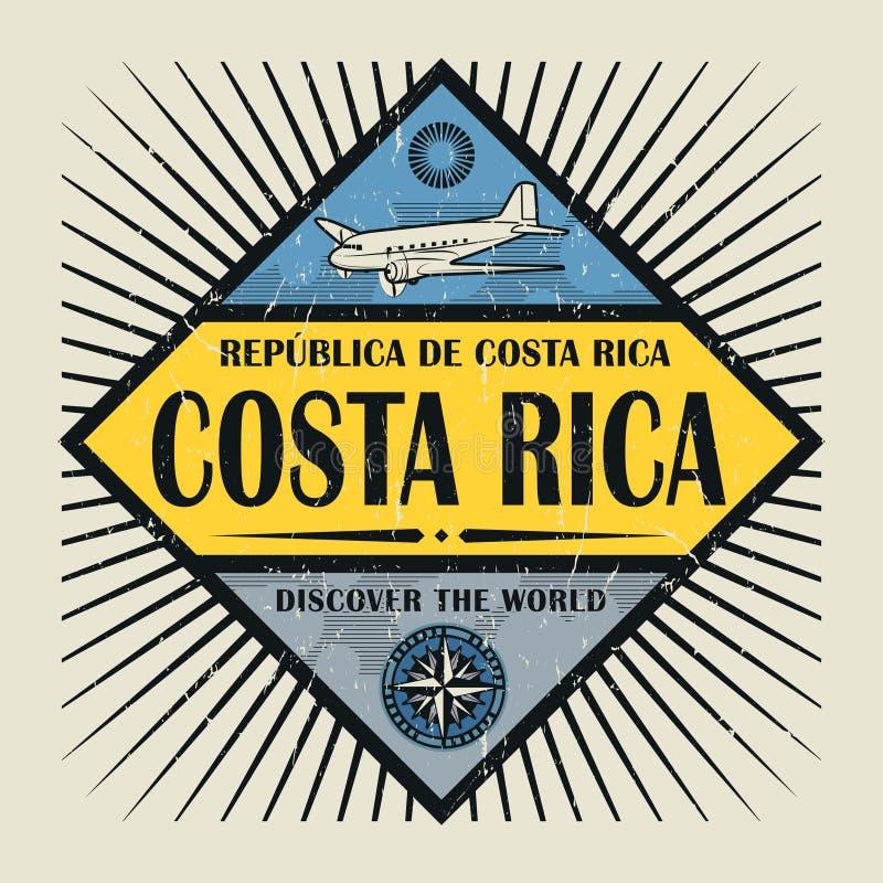 El texto Costa Rica del emblema del sello o del vintage, descubre el mundo stock de ilustración