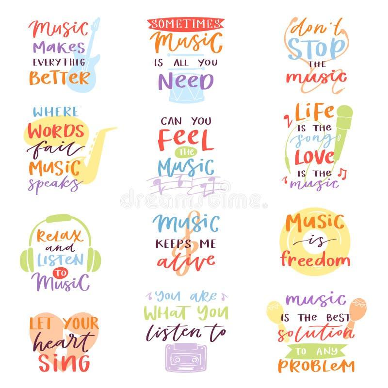 El texto de la caligrafía del vector de las letras de la música o la muestra musical de la cita del amor se relaja y de la libert stock de ilustración