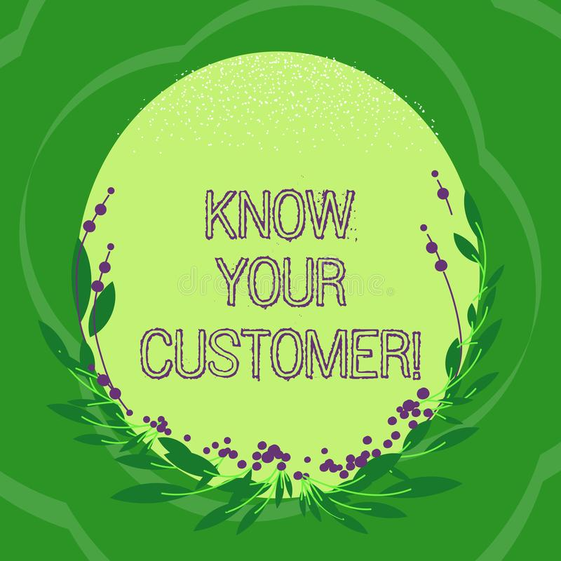 El texto de la escritura conoce a su cliente Significado del concepto que verifica a clientes de la identidad y que evalúa óvalo  ilustración del vector
