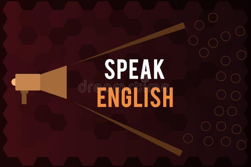 El texto de la escritura habla inglés Estudio del significado del concepto otros cursos verbales en línea del idioma extranjero ilustración del vector