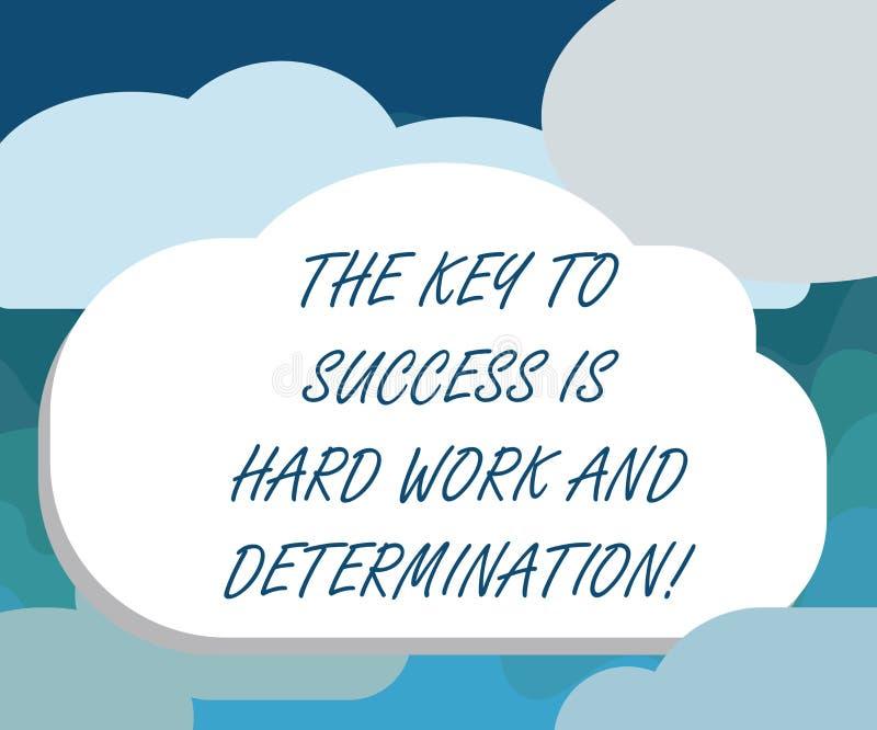 El texto de la escritura la llave al éxito es difícilmente trabajo y determinación Concepto que significa el esmero que trabaja l ilustración del vector