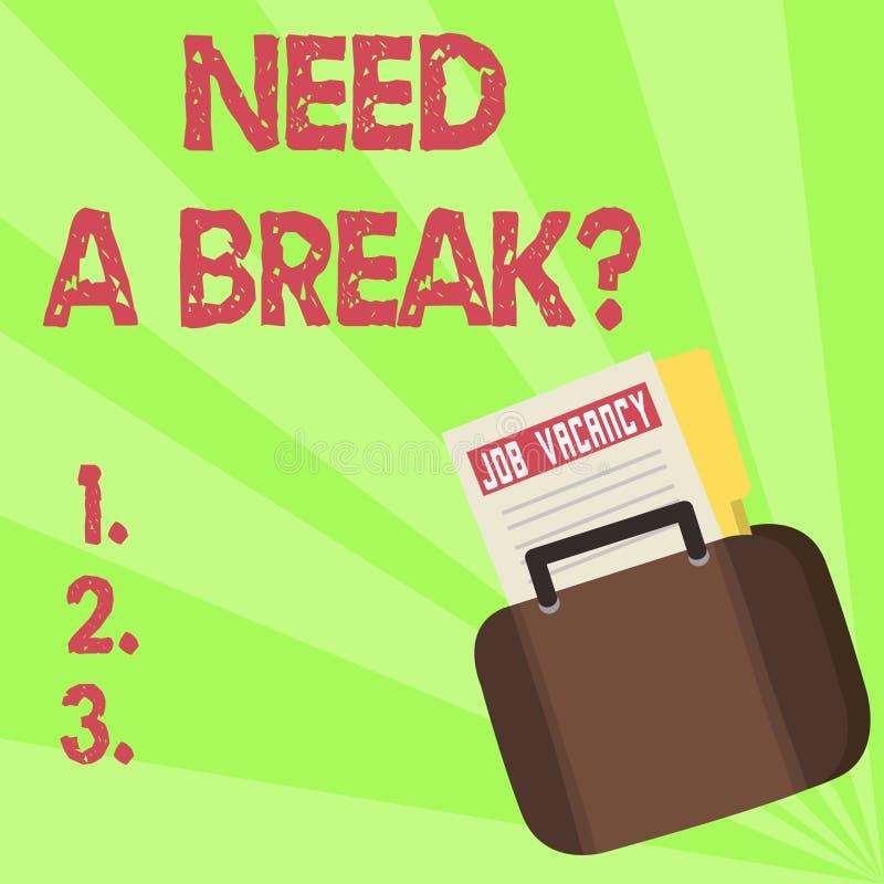 El texto de la escritura necesita un Breakquestion La separación necesaria las vacaciones del significado del concepto quiso frac ilustración del vector