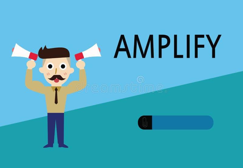 El texto de la escritura de la palabra amplifica Concepto del negocio para Make algo un aumento más ruidoso más grande el volumen ilustración del vector