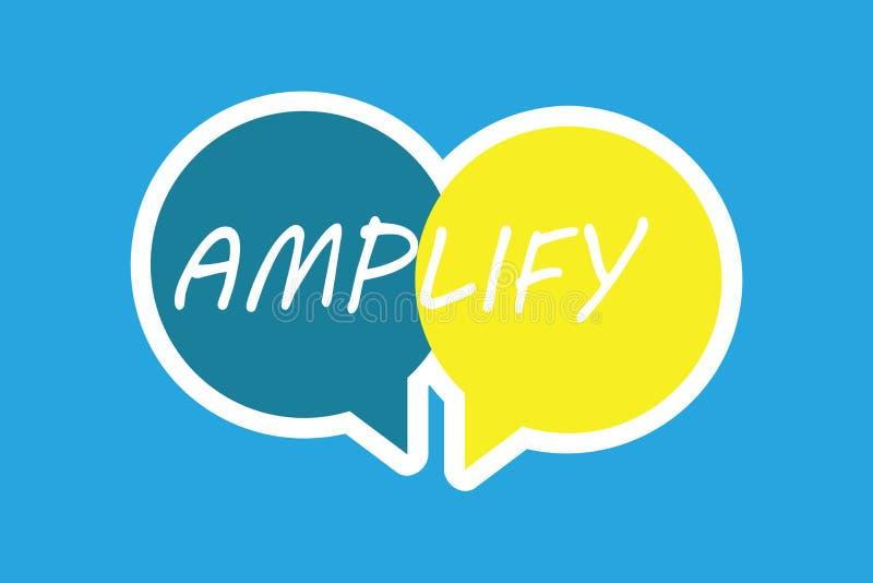 El texto de la escritura de la palabra amplifica Concepto del negocio para Make algo un aumento más ruidoso más grande el volumen libre illustration