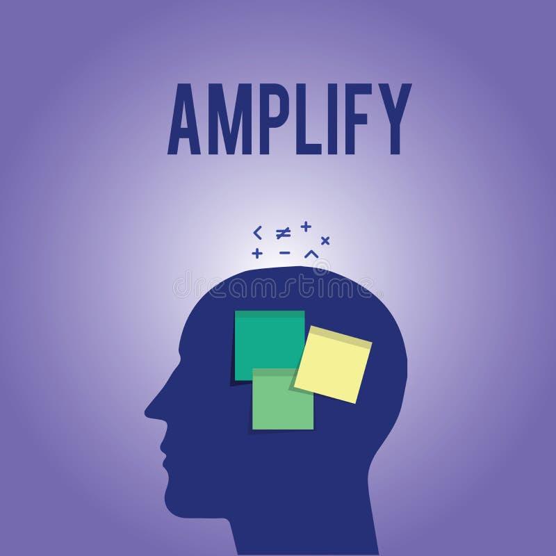El texto de la escritura de la palabra amplifica Concepto del negocio para Make algo un aumento más ruidoso más grande el volumen stock de ilustración