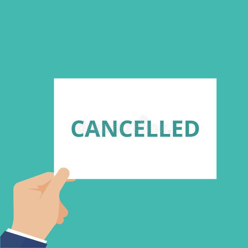 El texto de la escritura de la palabra canceló stock de ilustración