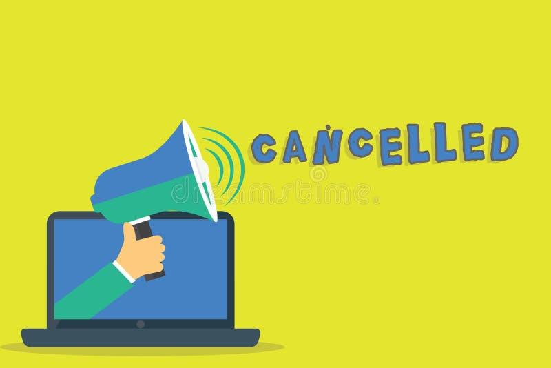 El texto de la escritura de la palabra canceló El concepto del negocio para decidir o anunciar a ese acontecimiento previsto no o stock de ilustración
