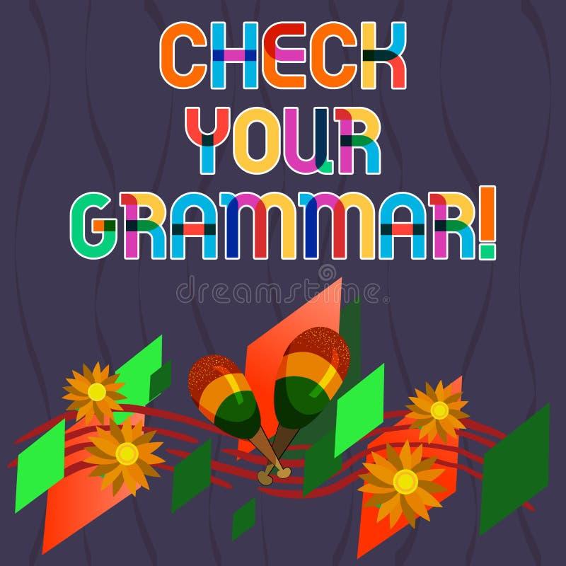 El texto de la escritura de la palabra comprueba su gramática Concepto del negocio para corregir de deletreo del contexto de la p stock de ilustración