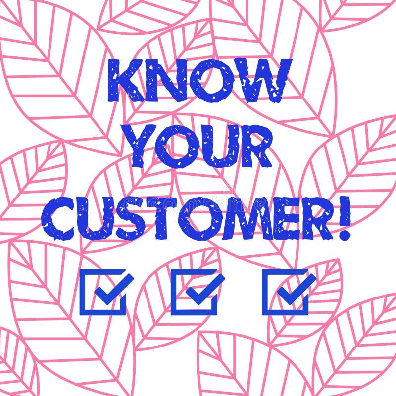 El texto de la escritura de la palabra conoce a su cliente Concepto del negocio para verificar a clientes de la identidad y evalu libre illustration