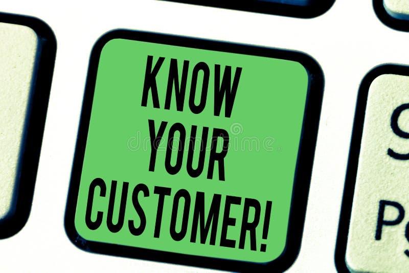 El texto de la escritura de la palabra conoce a su cliente Concepto del negocio para verificar a clientes de la identidad y evalu ilustración del vector