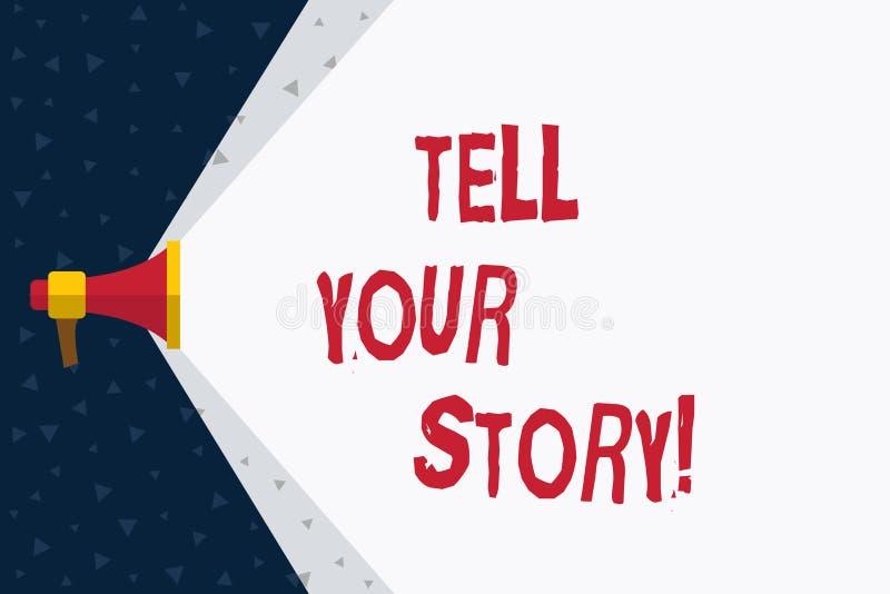 El texto de la escritura de la palabra cuenta su historia Concepto del negocio para expresar sus sensaciones que narran escribien libre illustration