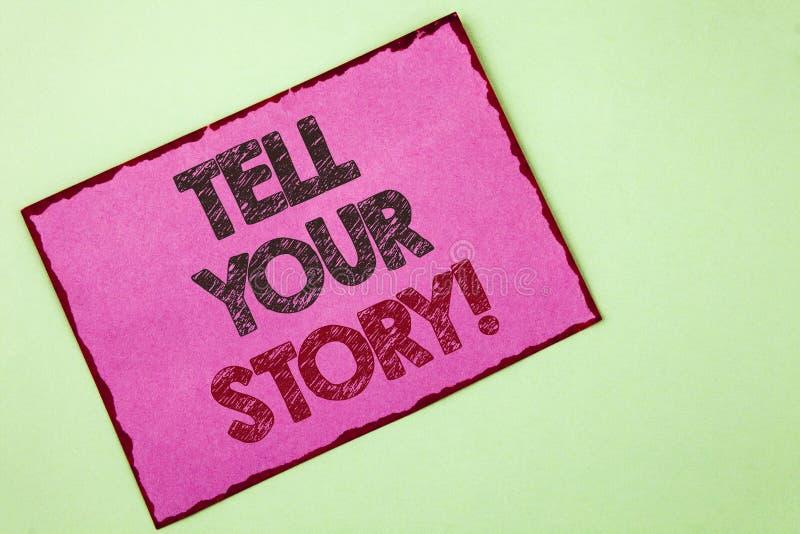 El texto de la escritura de la palabra dice a su historia llamada de motivación El concepto del negocio para la parte su experien foto de archivo libre de regalías