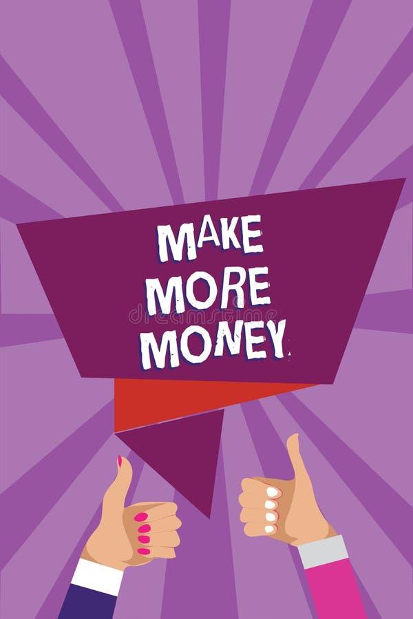 El texto de la escritura de la palabra hace más dinero El concepto del negocio para el aumento sus ventajas del sueldo de las ren stock de ilustración